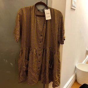 Short button up checked dress
